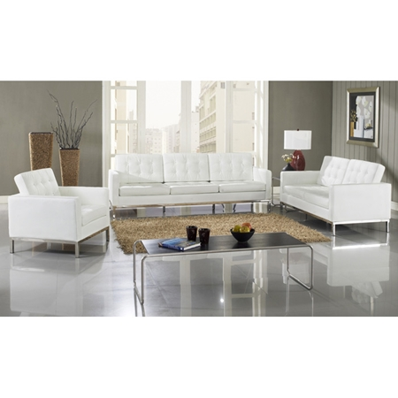 loft 5 piece leather living room set stainless steel white dcg