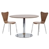 Rostrum 3 Piece Round Dining Set - Chrome Steel, Walnut - EEI-886