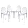 Casper Backrest Dining Chair - Clear (Set of 4) - EEI-908-CLR