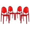 Casper Backrest Dining Chair - Red (Set of 4) - EEI-908-RED