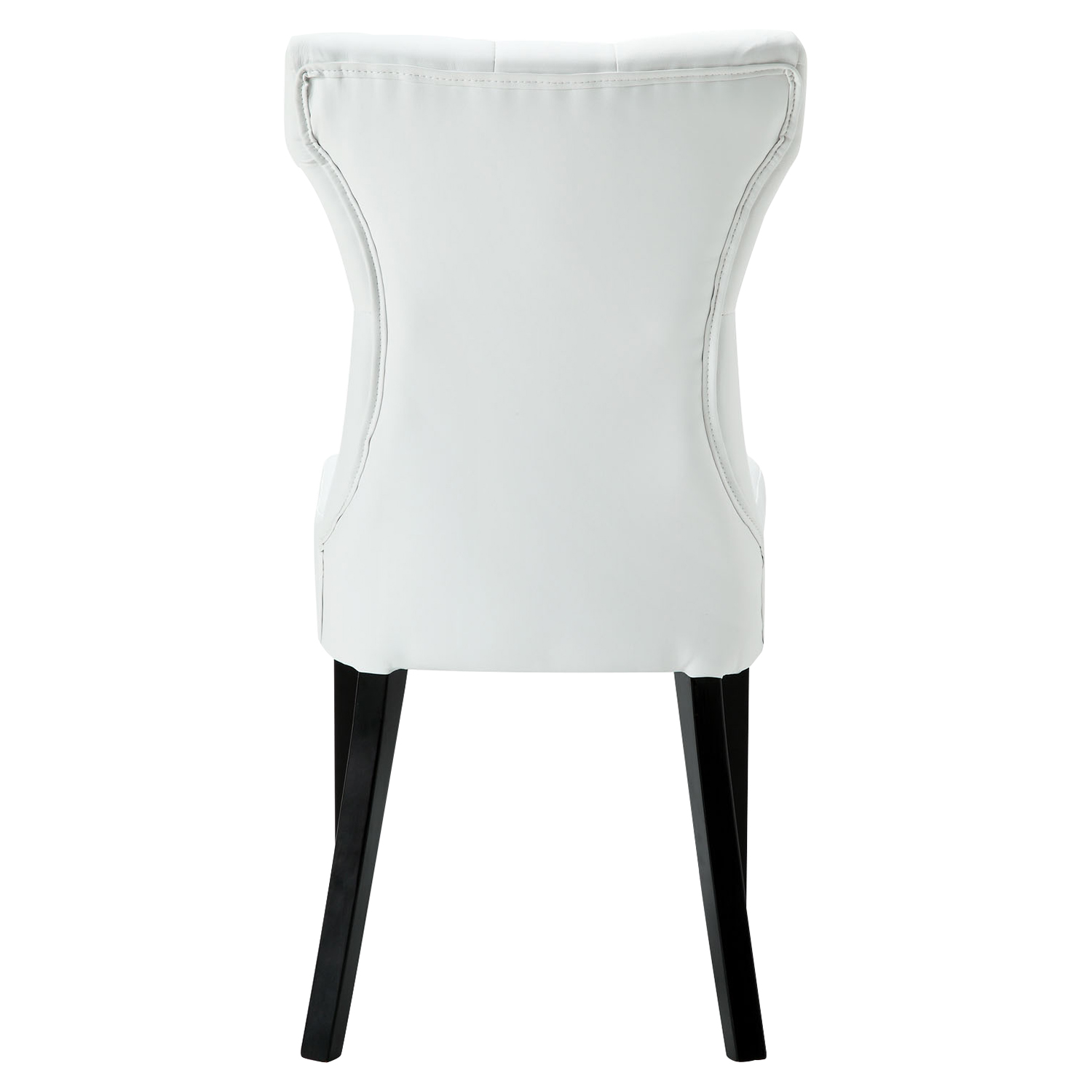 Silhouette Faux Leather Dining Chairs - Button Tufted, White (Set of 2) - EEI-911-WHI