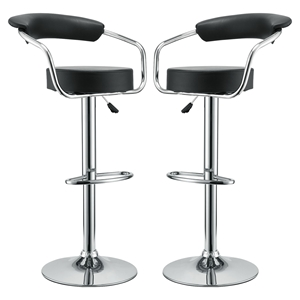 Diner Faux Leather Bar Stools - Black (Set of 2)