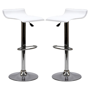 Gloria Leatherette Bar Stools - White (Set of 2)