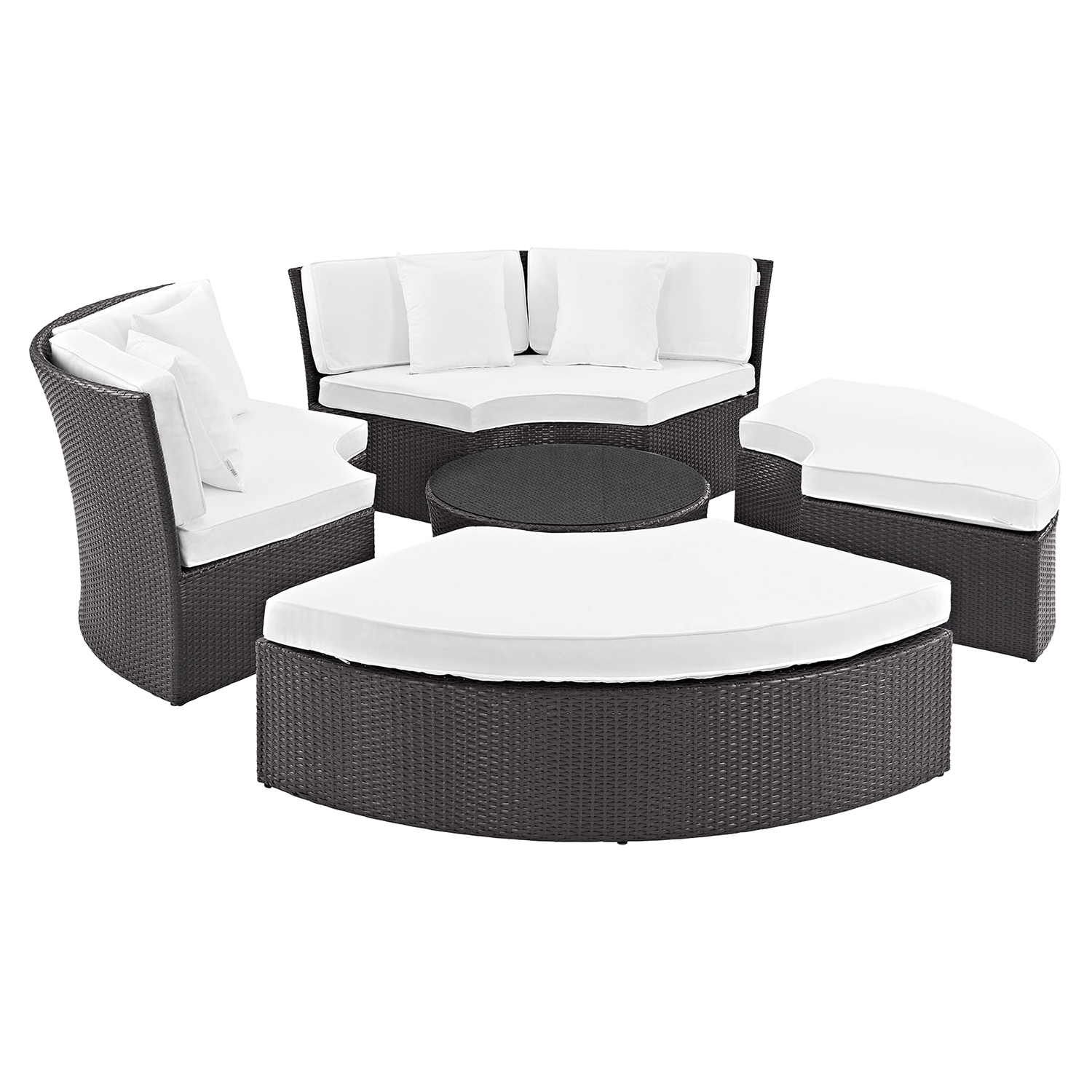 Pursuit Circular Outdoor Patio Daybed Set - EEI-956-EXP-SET