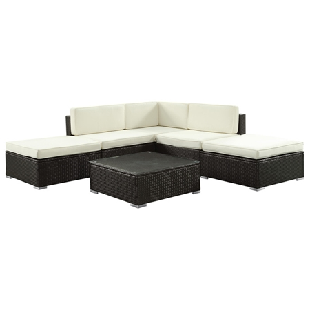 Sonoma L Shaped Patio Sectional Set Espresso White Cushions Dcg Stores