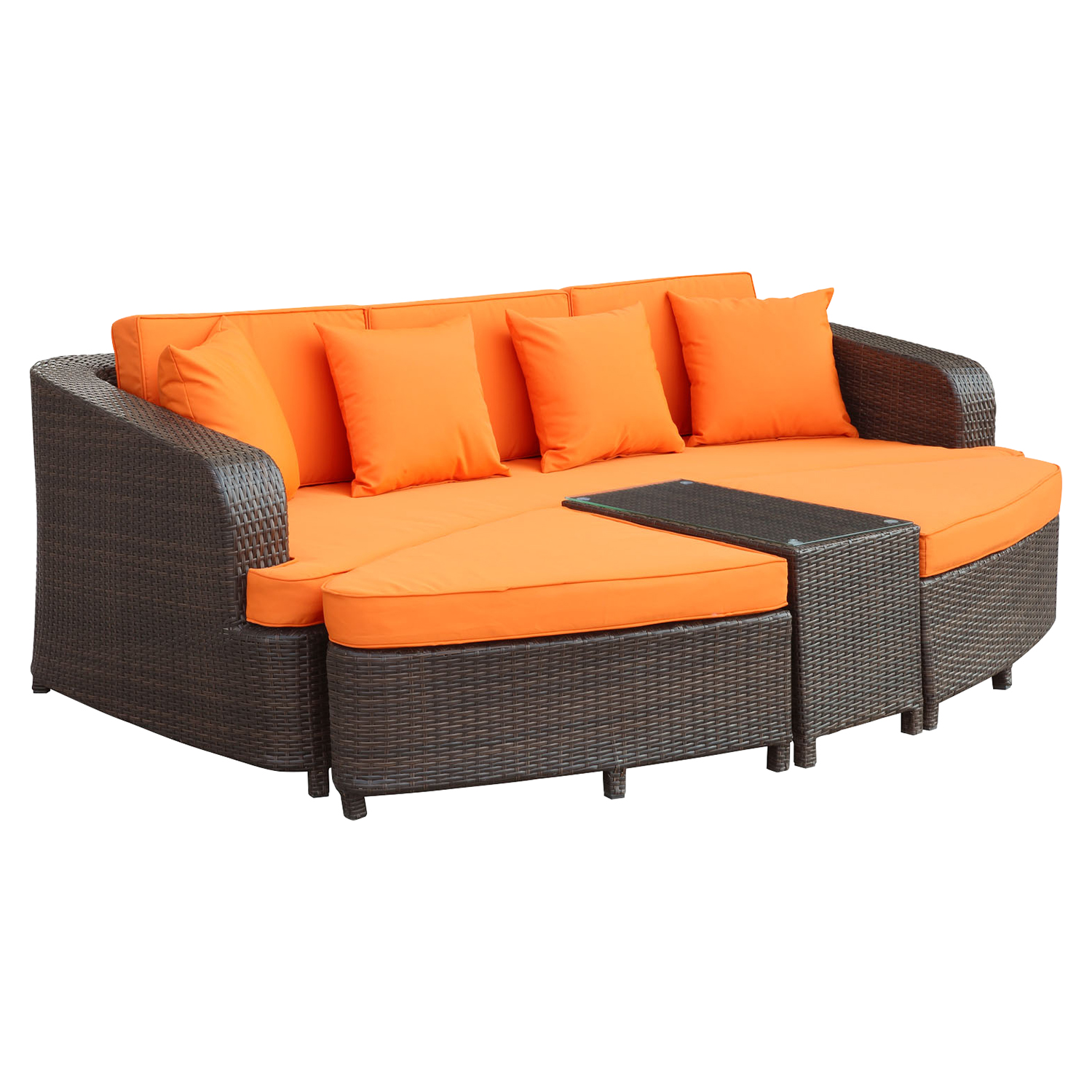 Monterey 4 Pieces Outdoor Patio Sofa Set - Brown, Orange - EEI-992-BRN-ORA-SET