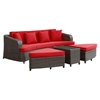 Monterey 4 Pieces Outdoor Patio Sofa Set - Brown, Red - EEI-992-BRN-RED-SET