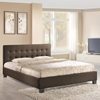 Caitlin Queen Fabric Bed - Button Tufted, Brown - EEI-5037-BRN-SET