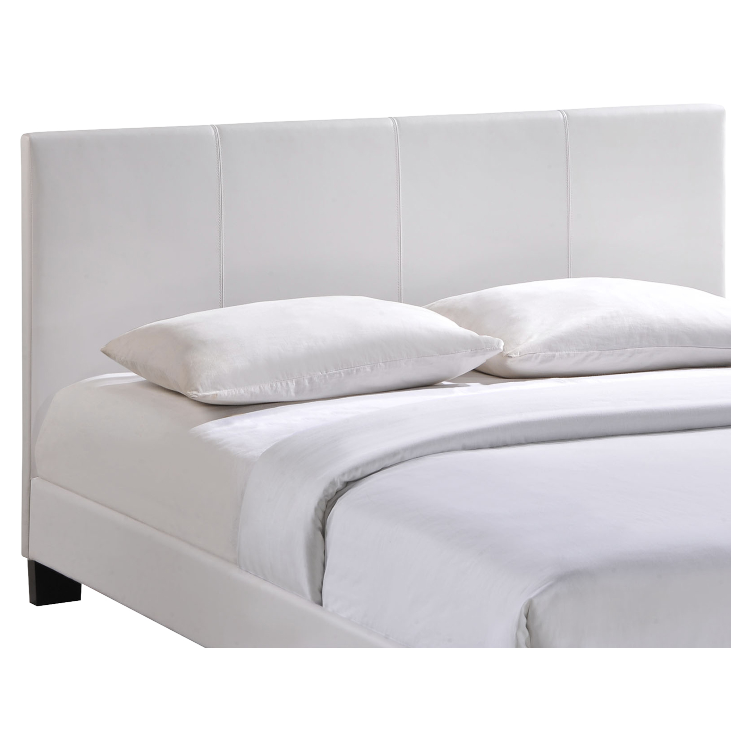 Alex Faux Leather Bed - Platform, White - EEI-MOD-5-WHI-SET