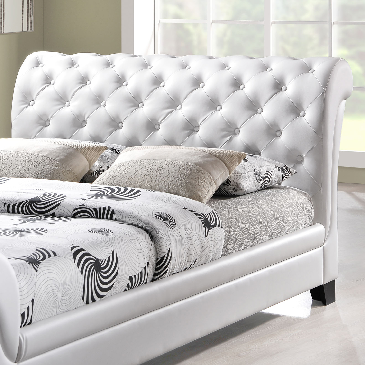 Kate Queen Leatherette Bed - Button Tufted, White - EEI-MOD-5039-WHI-SET