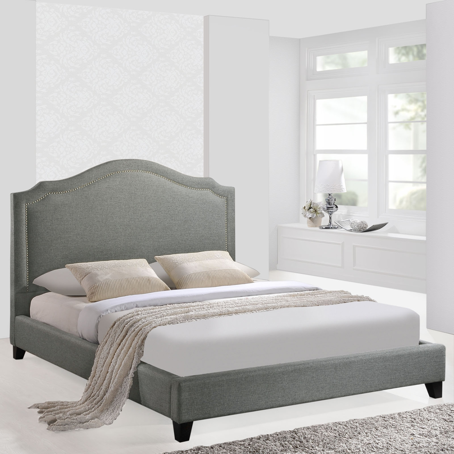 Charlotte Nailhead Queen Bed - Gray - EEI-MOD-5045-GRY-SET