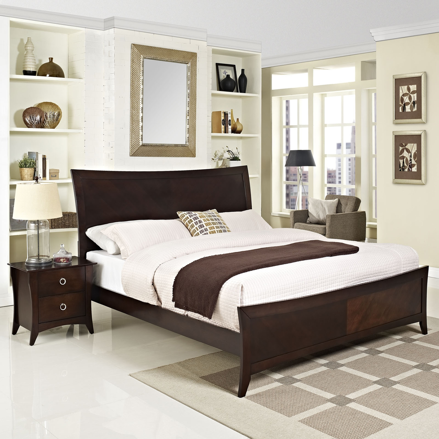 Elizabeth 2 Pieces Queen Bedroom Set - Cappuccino - EEI-MOD-5060-CAP-SET