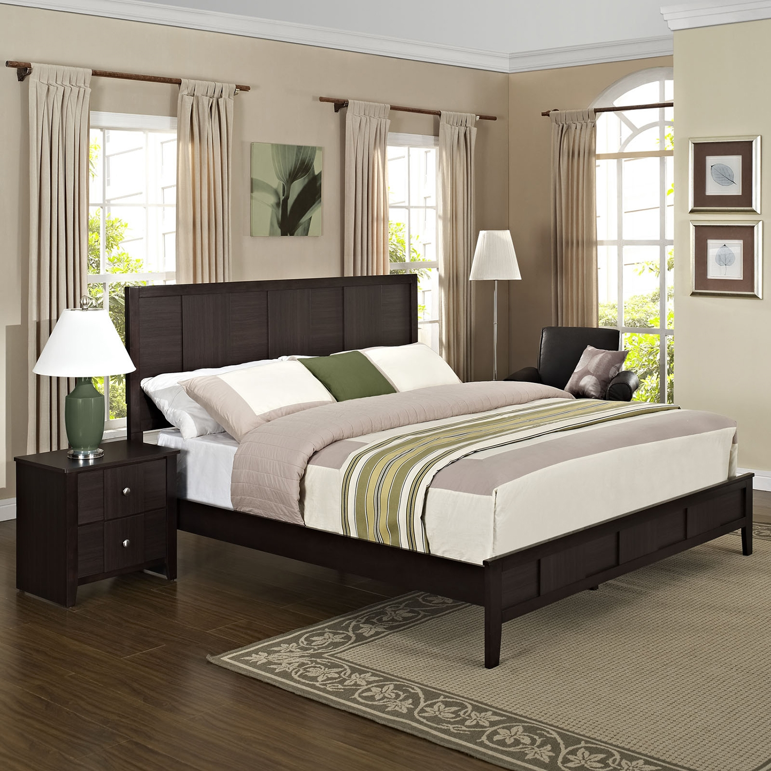 Holly 2 Pieces Queen Bedroom Set - EEI-MOD-5124-BLK-SET