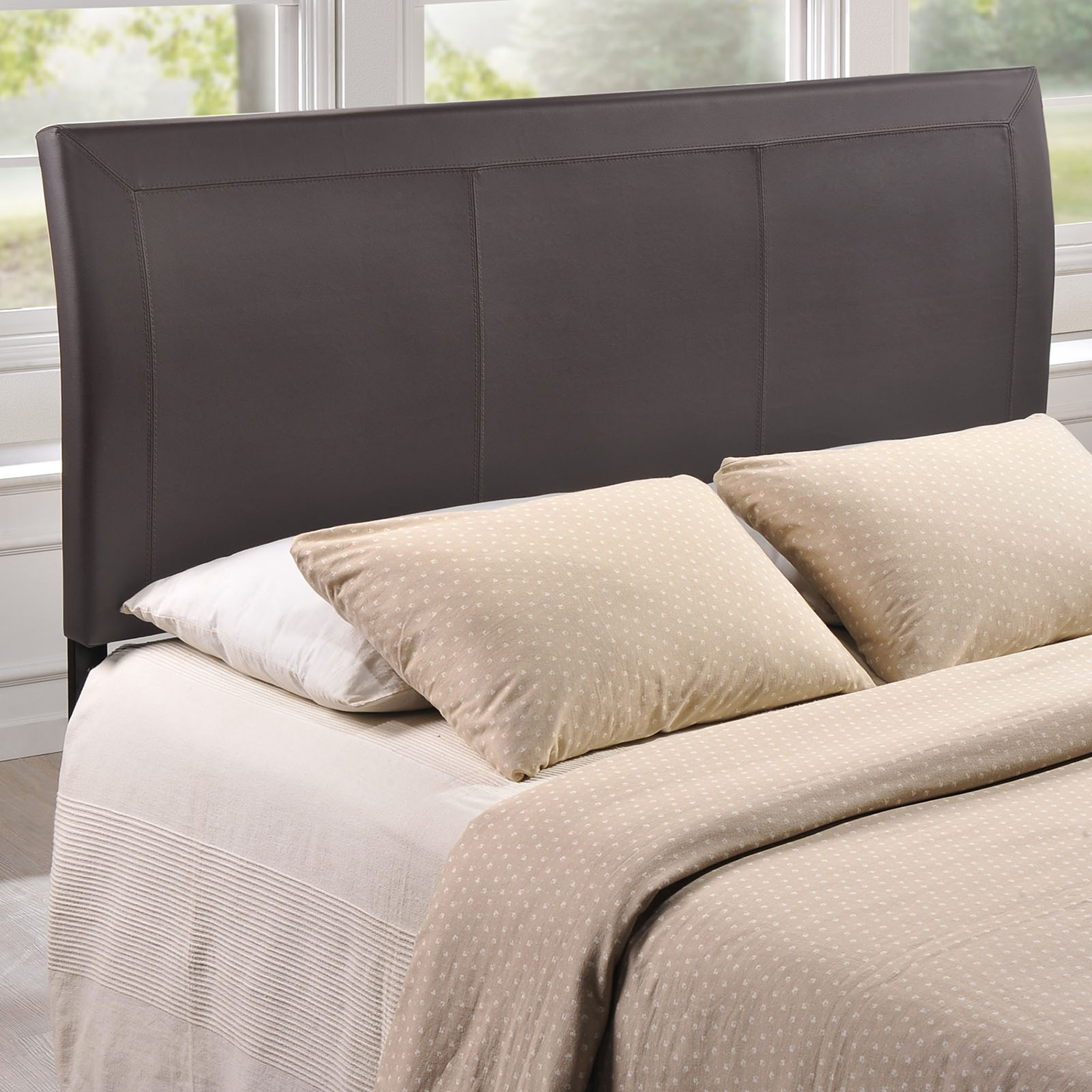 Isabella Queen Leatherette Headboard - Brown - EEI-MOD-5132-BRN