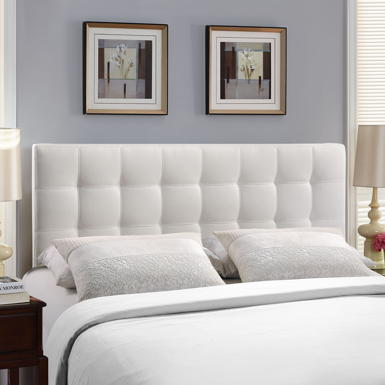 Lily Tufted Leatherette Headboard - White - EEI-MOD-51-WHI