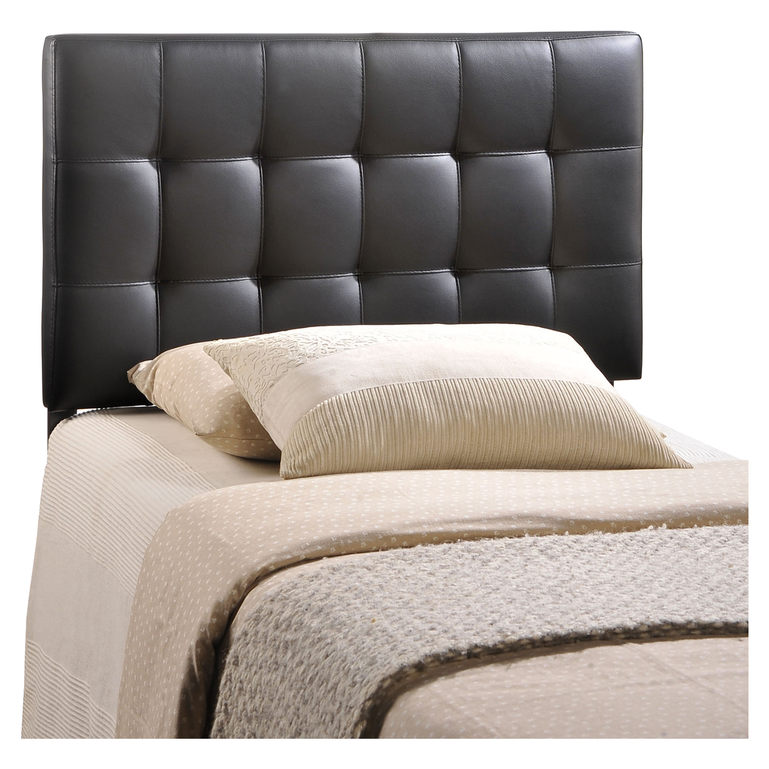 Lily Twin Leatherette Headboard - Tufted, Black - EEI-MOD-5149-BLK