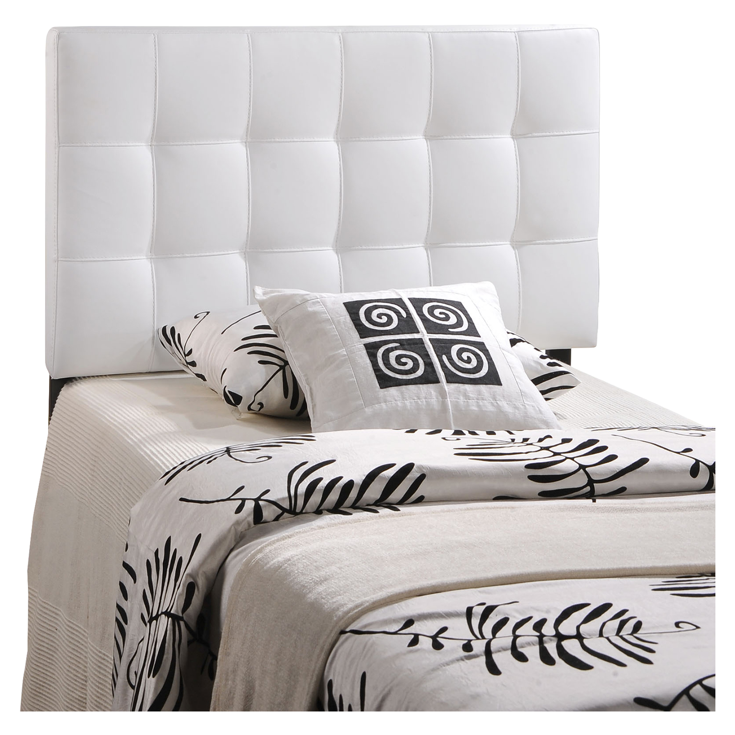 Lily Twin Leatherette Headboard - Tufted, White - EEI-MOD-5149-WHI