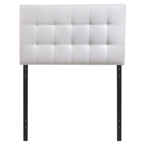 Lily Twin Leatherette Headboard - Tufted, White