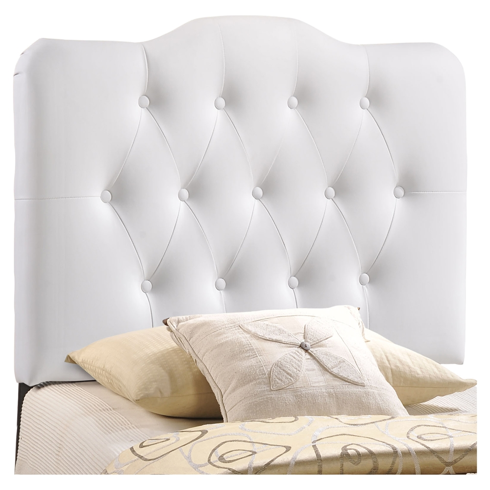 Annabel Twin Leatherette Headboard Button Tufted White