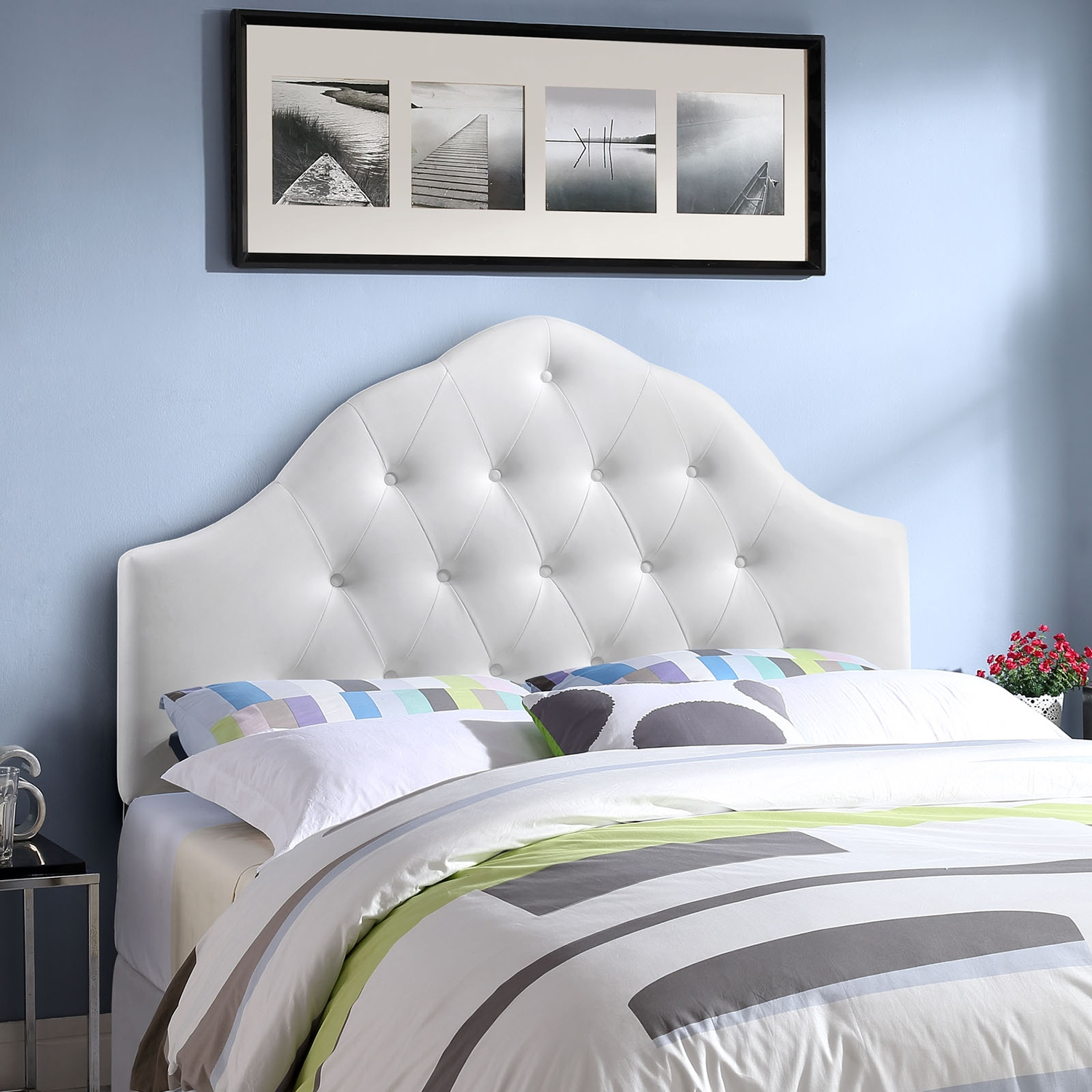 Sovereign Leatherette Headboard - Button Tufted, White - EEI-MOD-516-WHI
