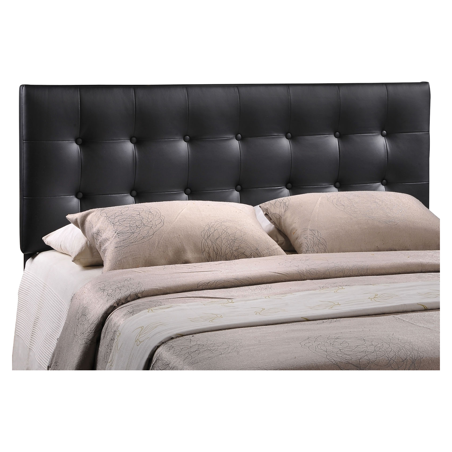 Emily Leatherette Headboard - Button Tufted, Black - EEI-MOD-517-BLK