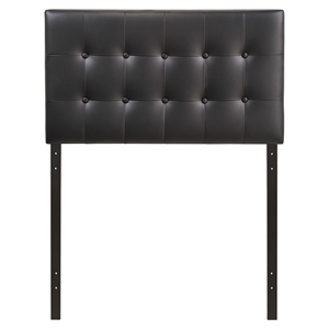 Emily Twin Leatherette Headboard - Button Tufted, Black