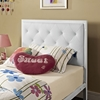 Mia Twin Tufted Faux Leather Bed - White - EEI-MOD-5179-WHI-WHI-SET