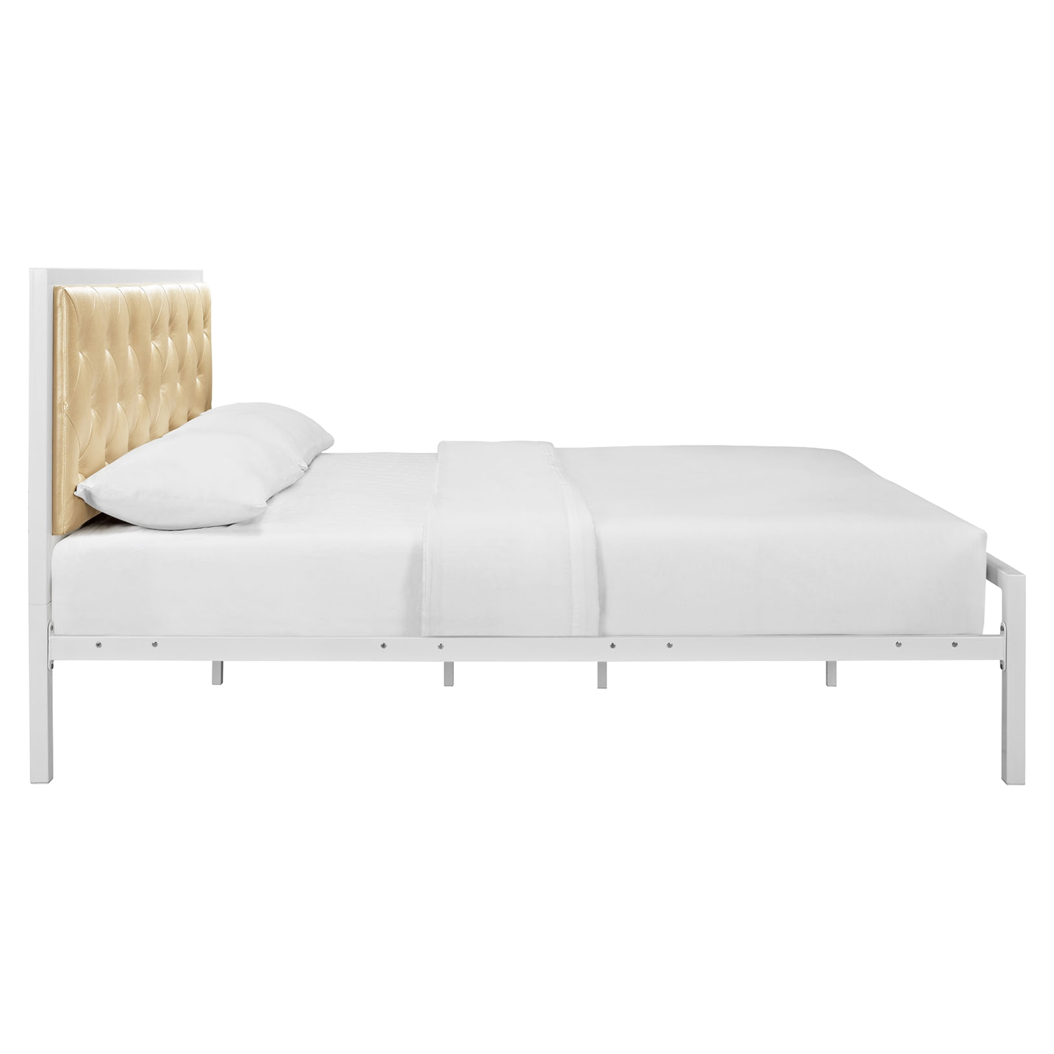 Mia Tufted Faux Leather Bed - White Champagne - EEI-MOD-518-WHI-CHA-SET