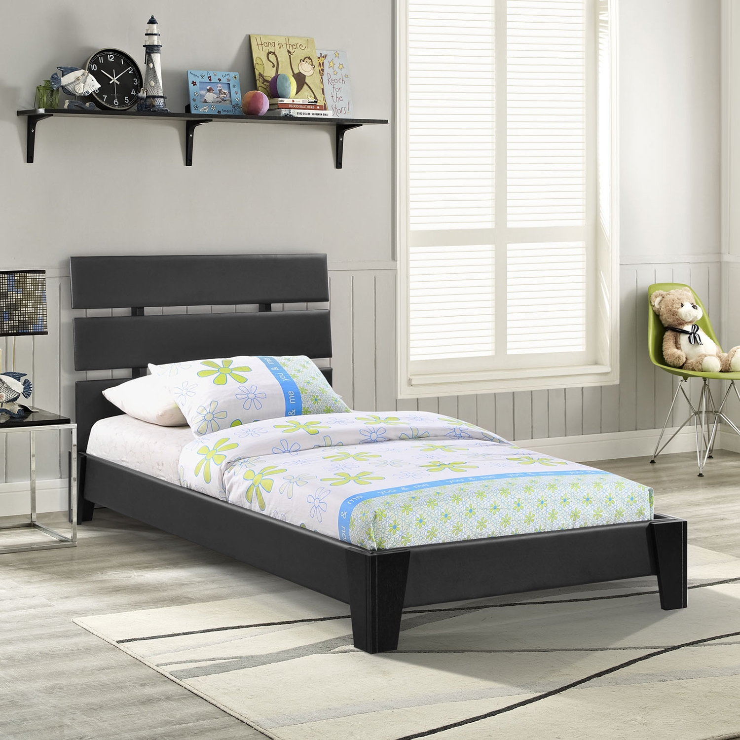 Zoe Twin Leatherette Bed - Platform, Black - EEI-MOD-5186-BLK