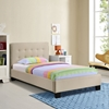 Caitlin Twin Fabric Bed - Button Tufted, Beige - EEI-5191-BEI-SET