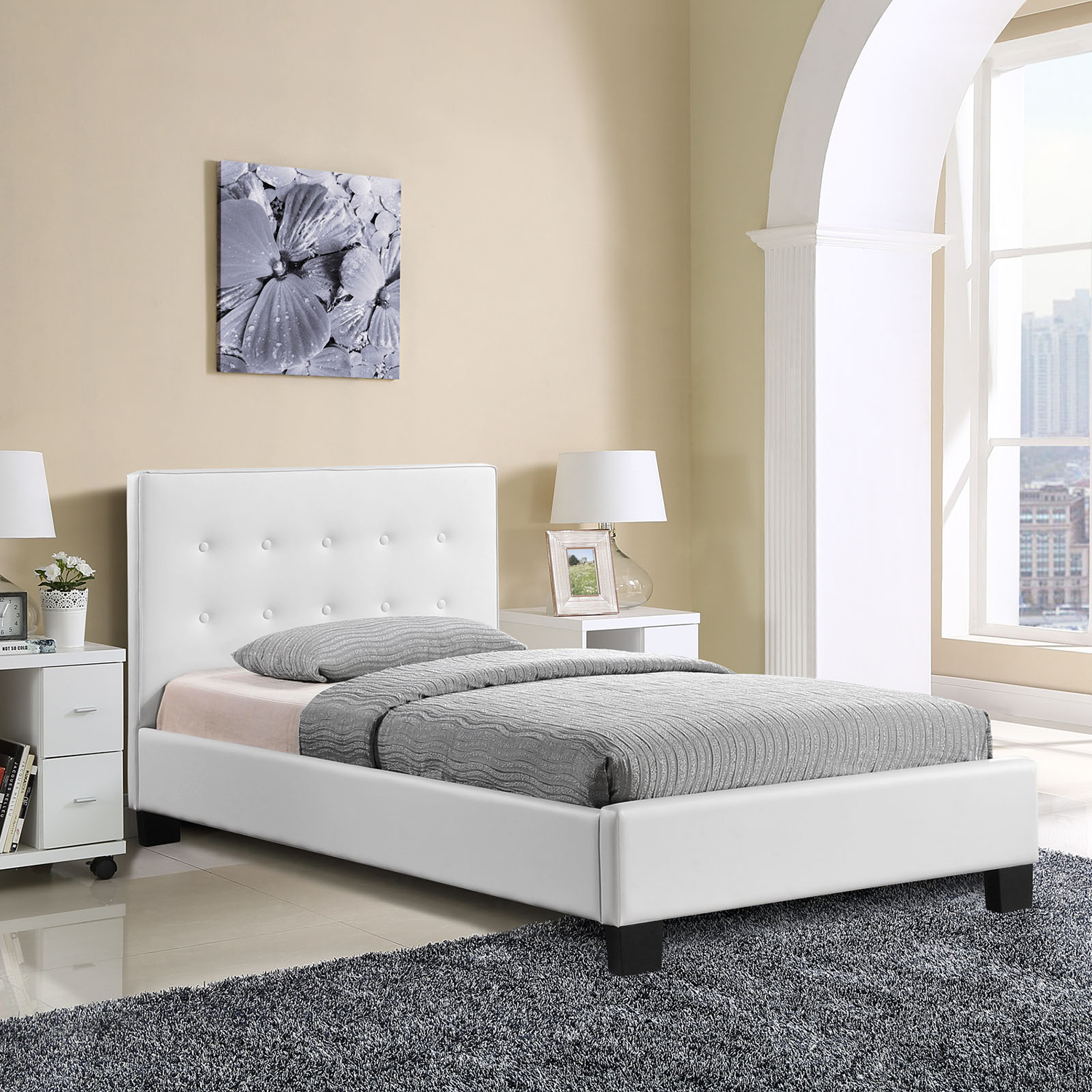 Caitlin Twin Faux Leather Bed - White - EEI-MOD-5192-WHI-SET