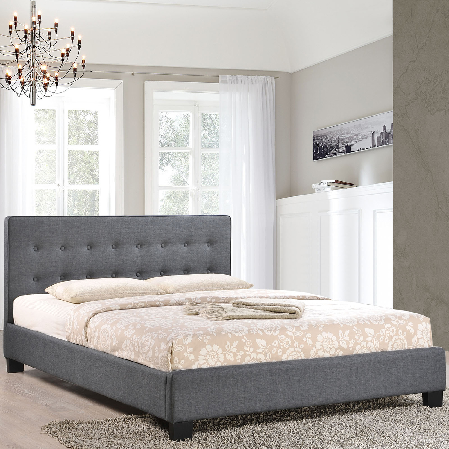 Caitlin Platform Fabric Bed - Button Tufted, Gray - EEI-MOD-5-GRY-SET