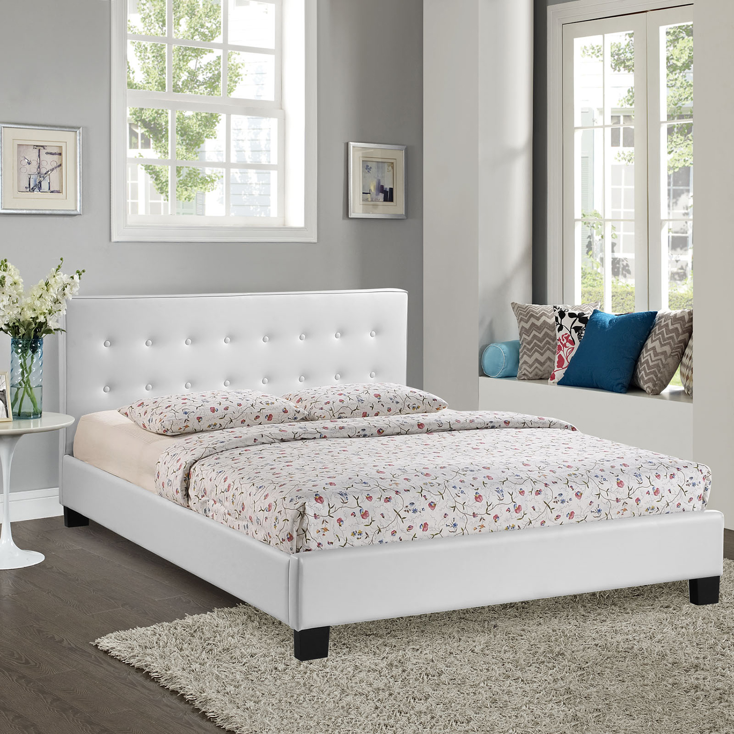 Caitlin Faux Leather Bed - Button Tufted, White - EEI-MOD-519-WHI-SET
