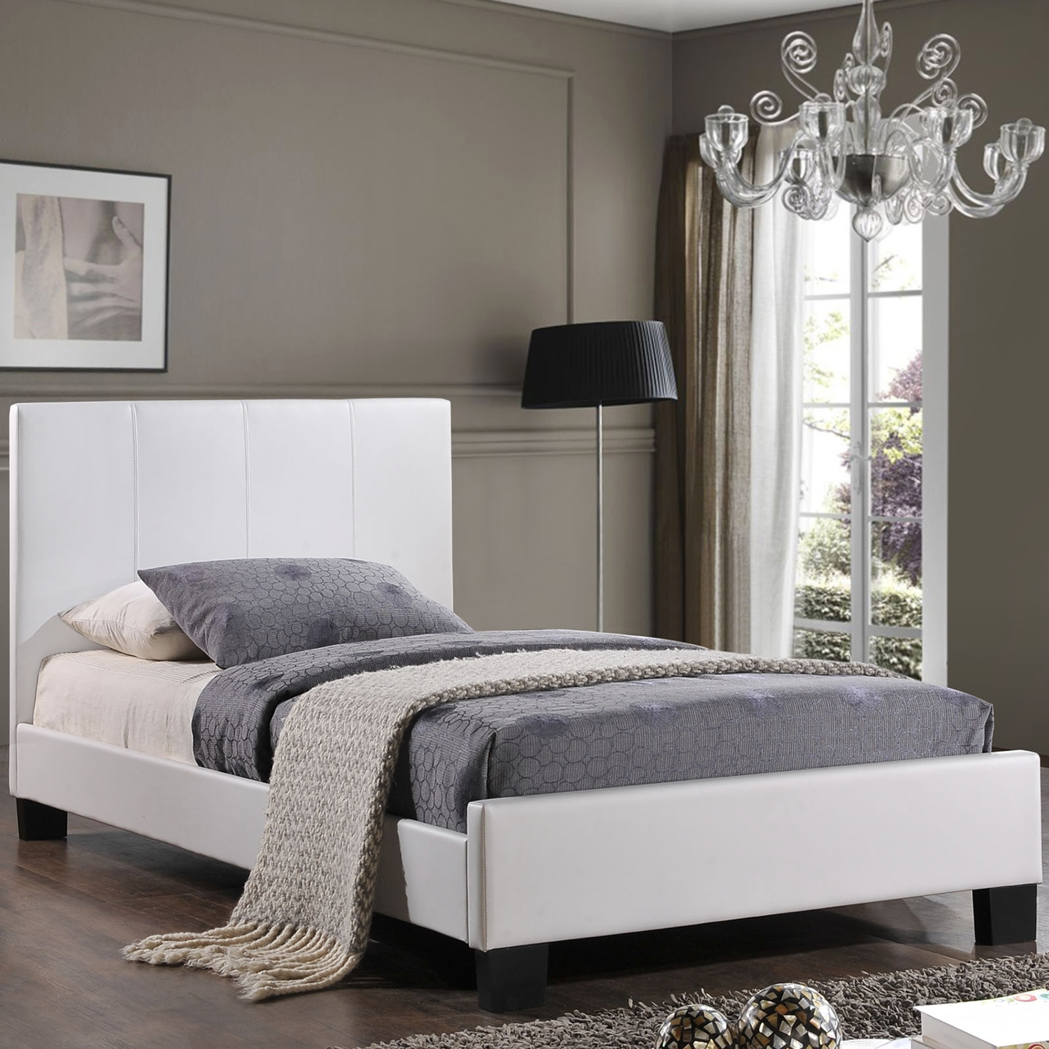 Alex Twin Faux Leather Bed - Platform, White - EEI-MOD-5198-WHI-SET