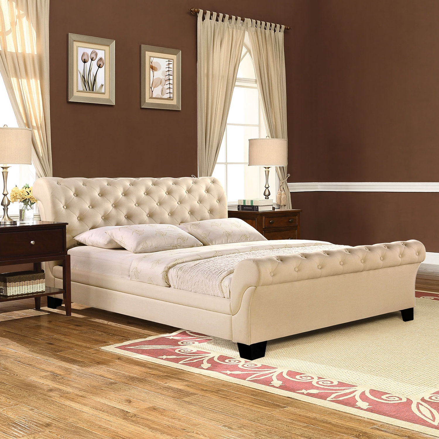 Kate Queen Fabric Bed - Button Tufted, Beige - EEI-MOD-5201-BEI-SET