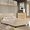 Kate Queen Fabric Bed - Button Tufted, Beige - EEI-5201-BEI-SET