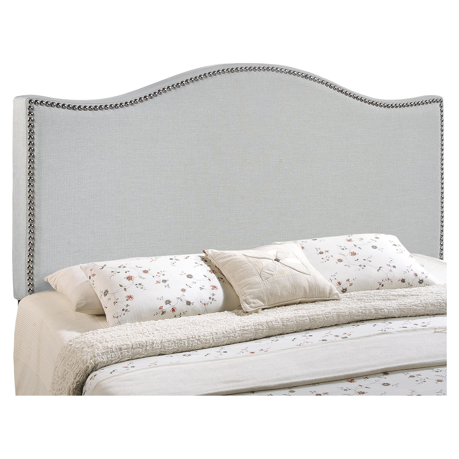 Curl Button Tufted Headboard - Sky Gray - EEI-MOD-520-GRY