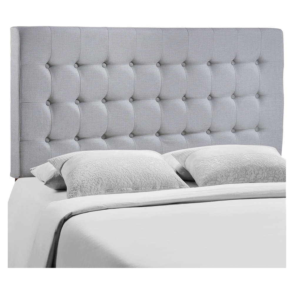 tinble queen headboard button tufted sky gray dcg stores. Black Bedroom Furniture Sets. Home Design Ideas