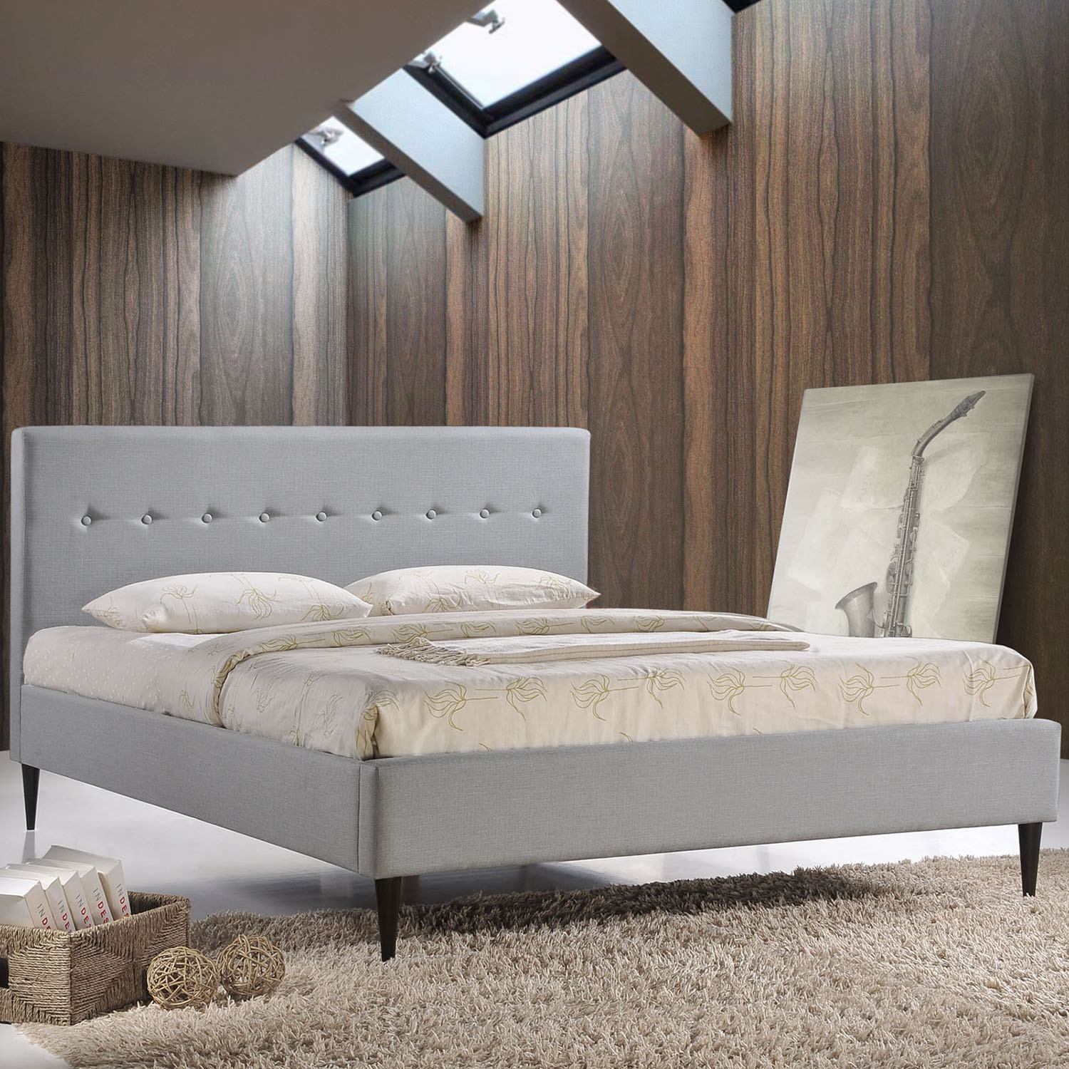 Stacy Platform Bed - Button Tufted, Sky Gray - EEI-MOD-523-GRY-SET