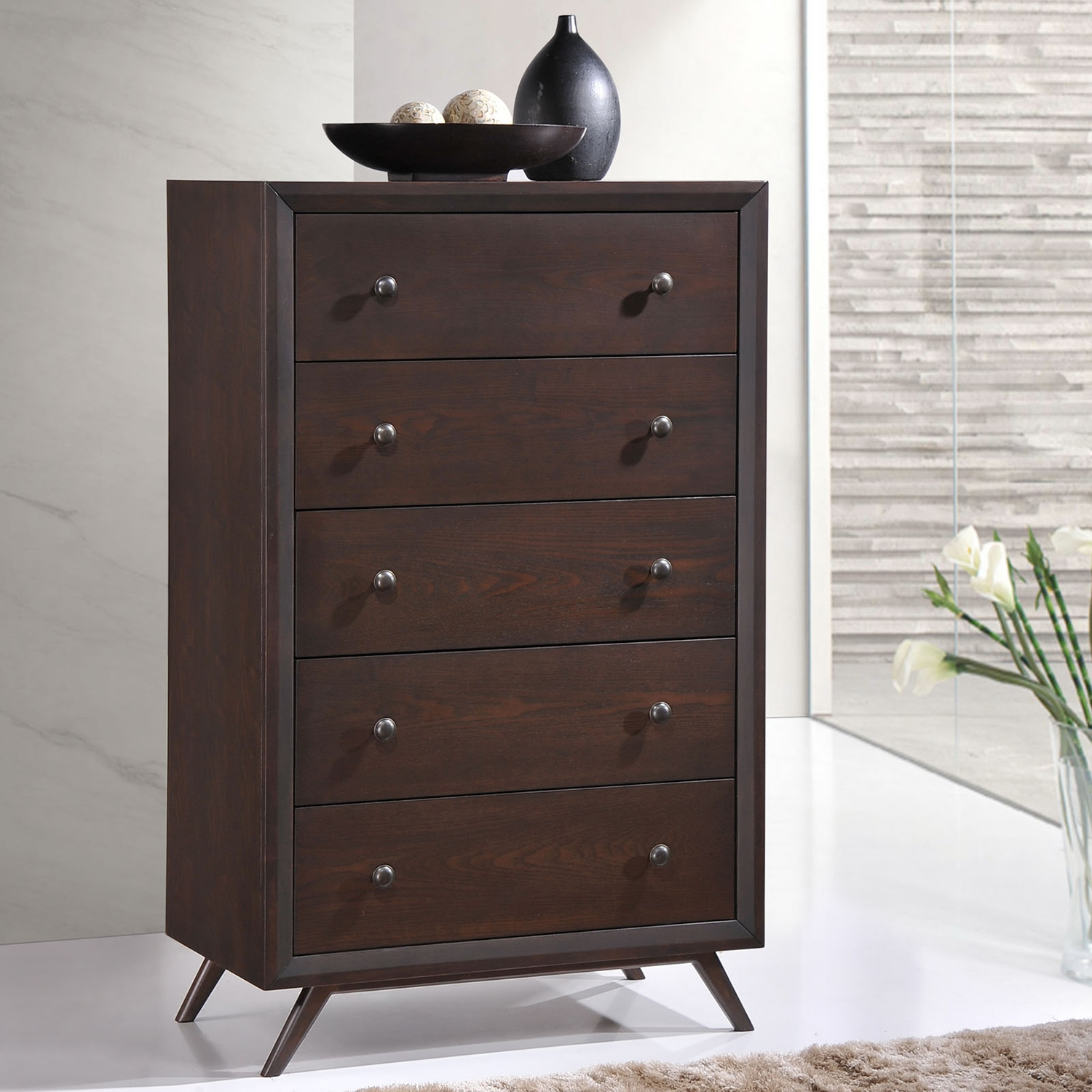 Tracy 5-Drawer Chest - Cappuccino - EEI-MOD-5242-CAP