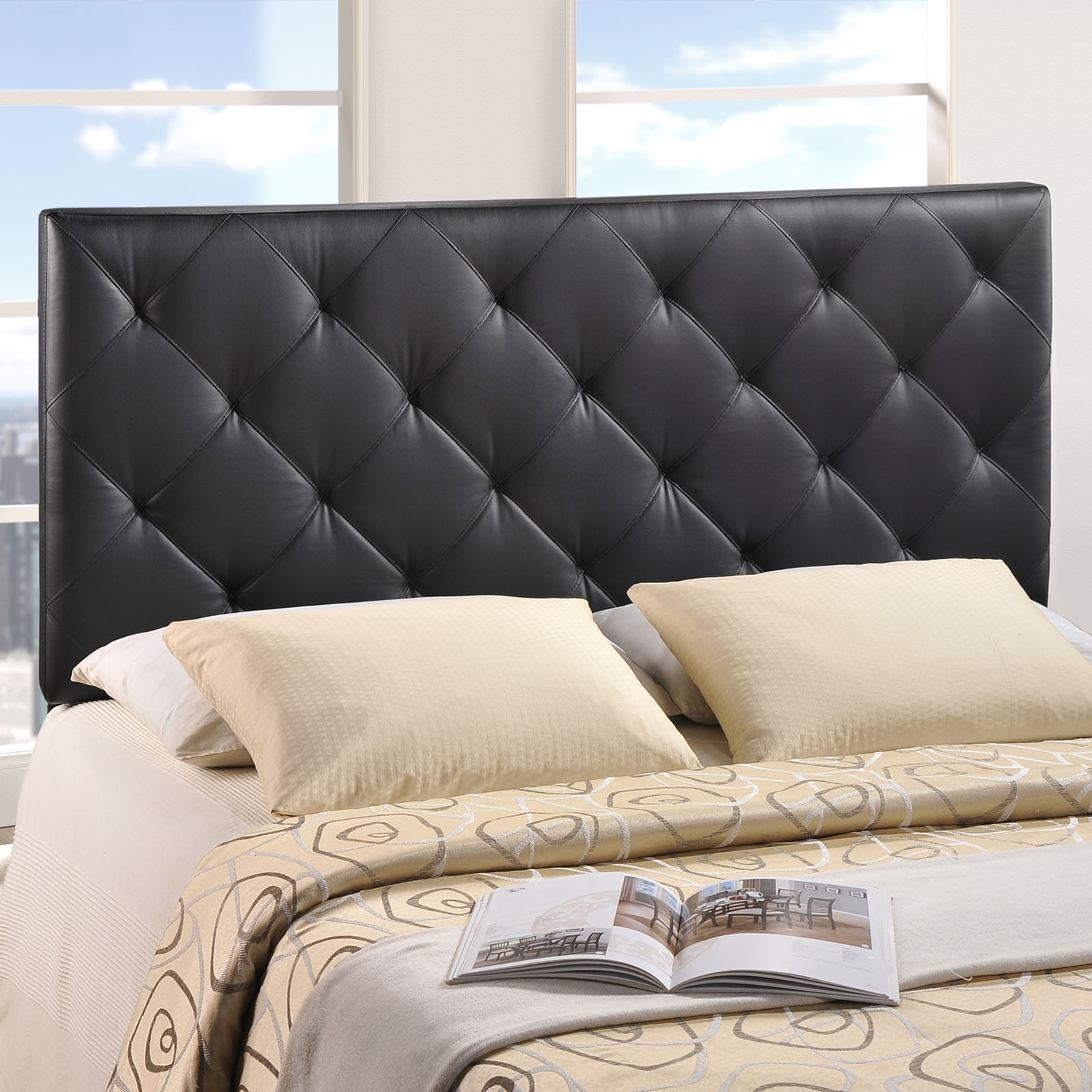 Theodore Faux Leather Headboard - Black - EEI-MOD-53-BLK