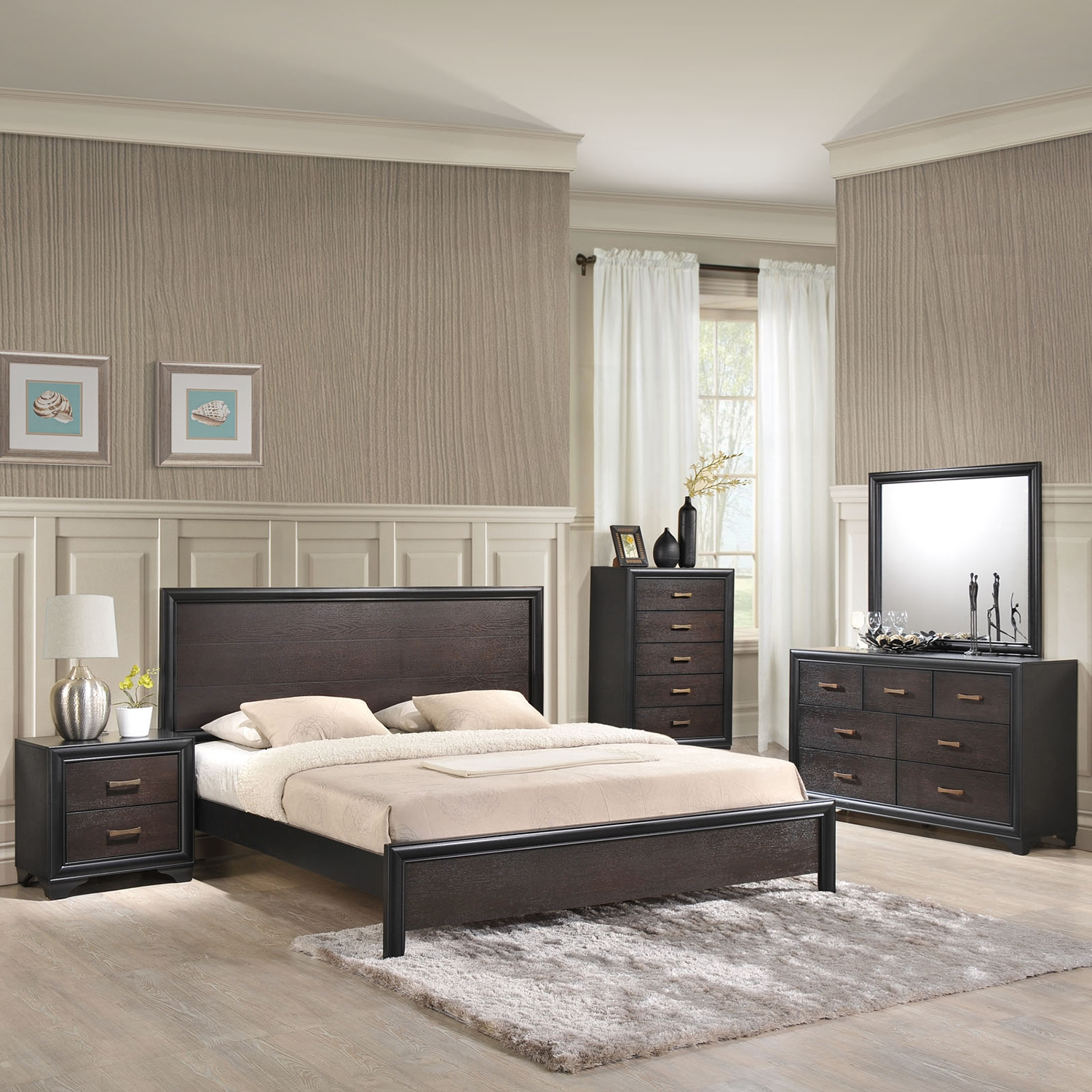 Madison 5 Pieces Walnut Bedroom Set - EEI-MOD-53-WAL-5PC-SET