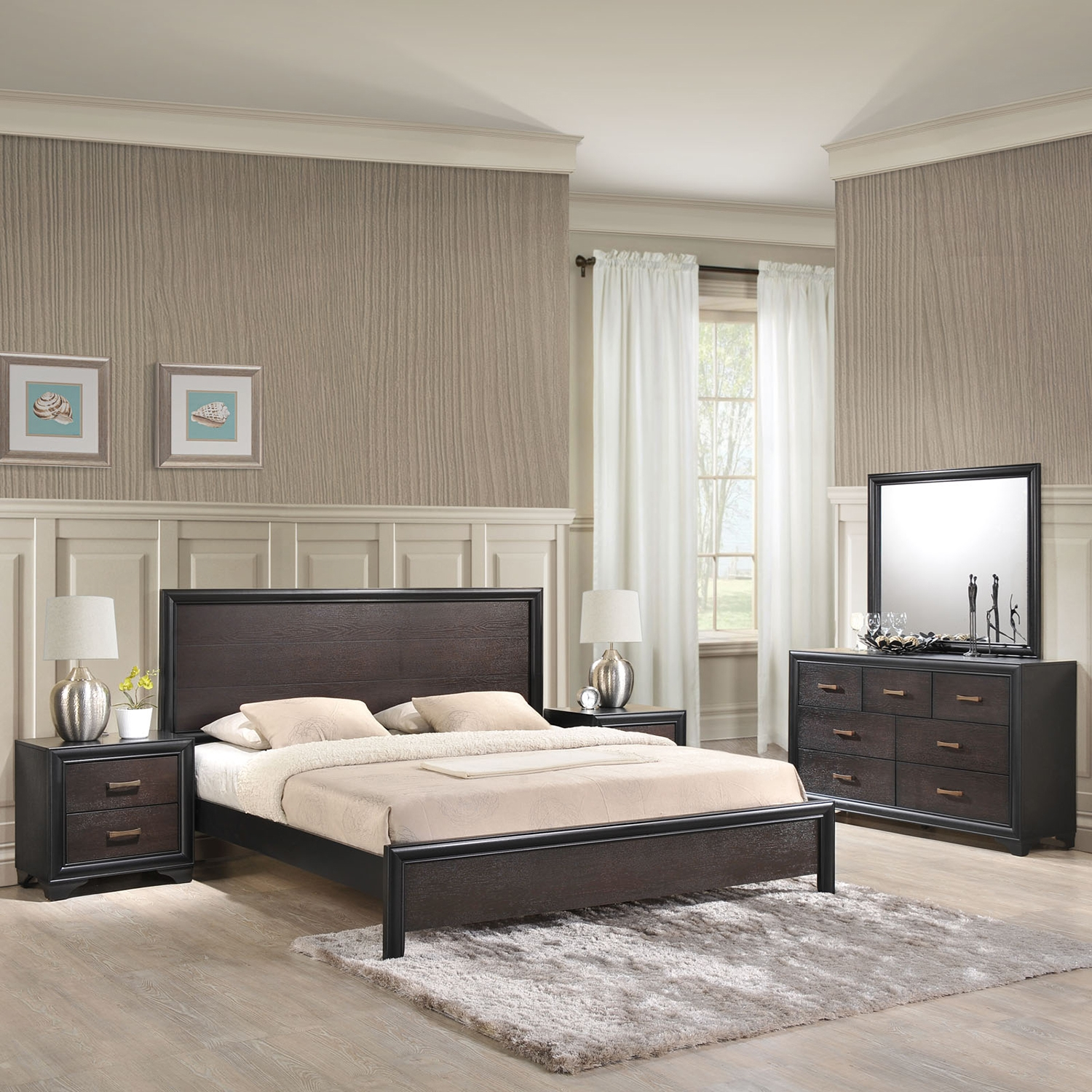 Madison 5 Pieces Bedroom Set - Walnut - EEI-MOD-53-WAL-SET-5PC