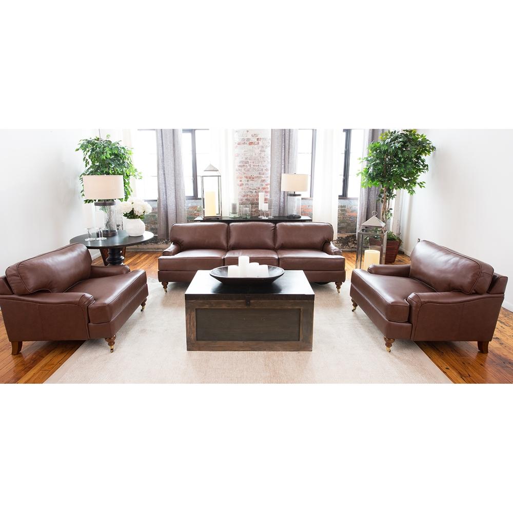 Athens 3 Pieces Top Grain Leather Sofa Set Bourbon Dcg Stores
