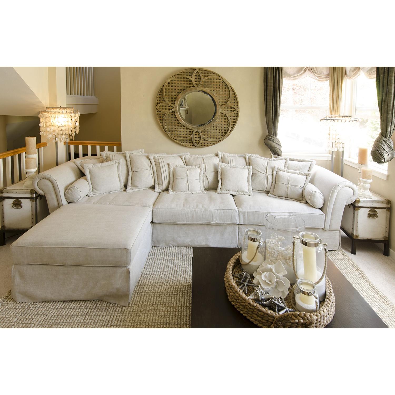 Bella 2 Piece Fabric Sectional Sofa And Ottoman   Sand   ELE BEL  ...