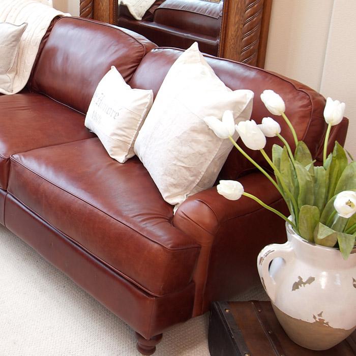 Cambridge leather sofa in acorn dcg stores for Home decor furniture cambridge oh