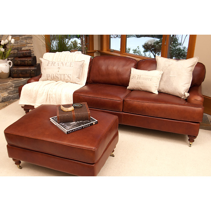 Cambridge 4 piece leather living room set in acorn dcg for 4 piece living room set