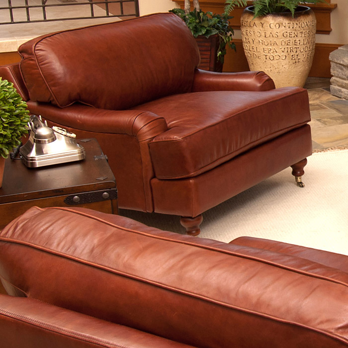 Cambridge leather club chairs set in acorn dcg stores for Home decor furniture cambridge oh