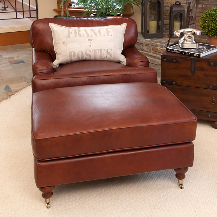 Cambridge leather chair and ottoman set in acorn dcg stores for Home decor furniture cambridge oh