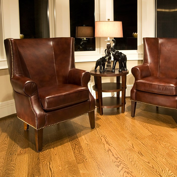 A Glass And Gold Bar Cart Brown Leather Armchair And: Camden Wingback Leather Club Chairs Set In Brown Raisin
